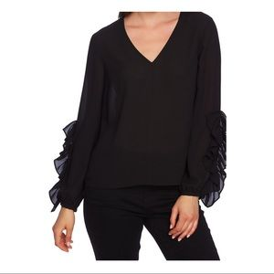 NWT 1. State Ruffle Lavender Fields Blouse Black